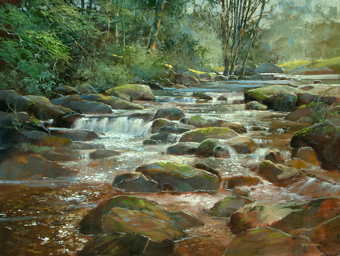 The Field and the Mountain Stream 30x40 - Copy
